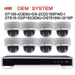 2019 fotocamera ip diy outdoor 12MP 16POE Sistema CCTV Hikvision OEM NVR DT616-V2 / P16 = DS-7616NI-I2 / 16P 8pcs Telecamera IP 8MP DT185-I = DS-2CD2185FWD-I