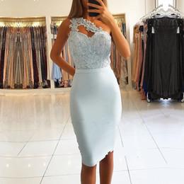 2019 um vestido azul céu ombro Sky Blue Bainha Vestidos de Cocktail 2019 Elegante Um Ombro Apliques de Lantejoulas Mini Curto Prom Vestidos de Noite Custom Made vestidos um vestido azul céu ombro barato