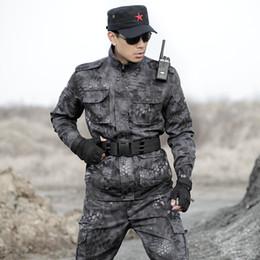 2019 kampfanzug armee Mens Camouflage Suit Jagd Kleidung Multicam Schwarz Ghillie Suits Python Armee Taktische Jacken + Hosen Combat Uniformen günstig kampfanzug armee