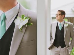 Wholesale Popular Blazers - 2017 Most Popular Smoking Grey Men Suits Blazer With Pants Casual Style Black Vest Wedding Grooms Tuxedos(Jacket+Pants+Vest+Tie)