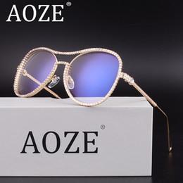 Синий хрустальные бокалы онлайн-AOZE Crystal Rhinestone Oversized Sunglasses For Women Optical Glasses Frame Clear Lens Anti Blue Ray Anti UV400 High Quality
