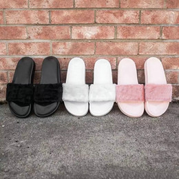 Wholesale Girls Pink High Heel Shoes - Leadcat Fenty Rihanna Slippers Shoes Women Indoor Sandals Girls Fashion Scuffs Pink Black White Grey Fur Slides Without Box High Quality
