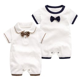 ccc1df4dfc6c Summer boys stripe romper toddler kids Bows tie lapel shorts sleeve romper  baby anchor printed shorts jumpsuits fashion boys clothing Y6103