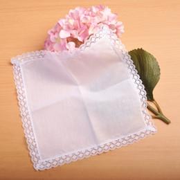 Lenços de renda feminina on-line-10 pcs branco lenços de lenços de algodão lenços de senhora lenço lenços masculinos de bolso de moda de nova