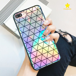 Wholesale rainbow iphone covers - Colorful Laser Case for iPhone X iPhone 8 Plus Cool Laser Rainbow Shining Case Back Cover Phone Case