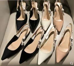 Wholesale bow high shoes black - Summer fashion comma heel Slingback pump Bow Letter Bandage High Heel Shoes woman Runway Pointed Toe Gladiaor Sandals