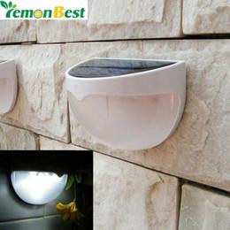 Luci solari a parete all'aperto online-LemonBest 6 LED Light Garden Solar Led Panel Sensor Sensore Impermeabile montato Outdoor Fence Wall Lamp Lighting Bianco freddo