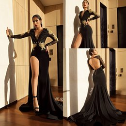 Wholesale White Deep V - Sexy Black High Slit Prom Party Dresses 2018 Gold Lace Appliques Mermaid Sheer Long Sleeves Deep V Neck Open Back Evening Gowns