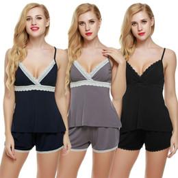 Wholesale Slip Pajamas - Women New Fashion Sleepwear 2 Piece Slip Cami + Shorts Pajamas Set