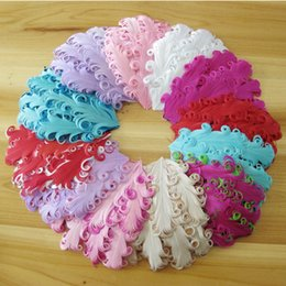 Wholesale New Pad For Kids - New Arrival Europe and America Pop Curly Feather Pad Kids Adult Headwear for Children Hair Band Solid Headwear 6pcs Lot Free Shipping