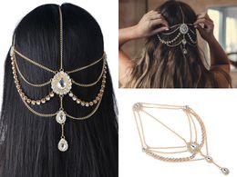 2018 accesorios para el cabello de boda para bohemio vestidos de boda cabeza cadena Bling Crystal Rhinestones plata y oro accesorios nupciales desde fabricantes