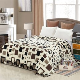 Wholesale Brown Modern Sofa - Wholesale- Star Plaid Printing Modern Soft Brown Grey Blue Solid Color Flannel Blanket Home Bed sofa 120x200 150x200 200x230cm