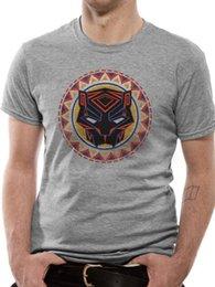 Panthère Noire Logo Cercle Africain T-shirt Officiel Hommes Marvel Film Gris ? partir de fabricateur
