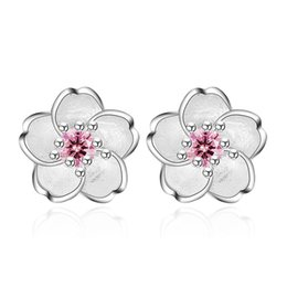 Wholesale Cute Pink Stud Earrings - Lovely Fashion Jewelry Cute Cherry Blossoms Flower Pink CZ Stud Earrings for Women Several Peach Blossoms wedding Earrings for bride 350042