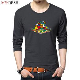 Wholesale Tshirt Big Bang Theory - Hipster Magic Cube printed Tee Shirt Spring Summer Long Sleeve Casual Cotton T Shirts Fashion Big Bang Theory tshirt Tops S~5XL