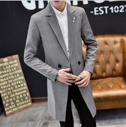 2019 зеленая куртка двубортные мужские Men's Double Breasted Slim Fit Formal Casual Jacket For Men Medium Long Trench Coat Mens Black Blue Gray Green Suits Jacket Male скидка зеленая куртка двубортные мужские
