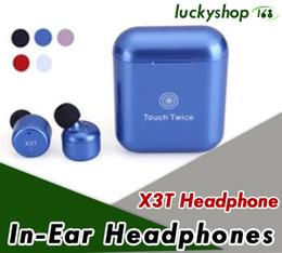 Wholesale Mini Hifi - X3T Touch Control Wireless Bluetooth headphones portable mini Subwoofer headset with charge box universal HIFI earphones 20X