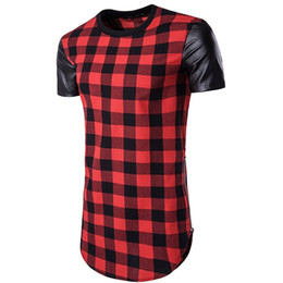 Wholesale Arc Red - 2018 hollowed hip-hop high street male long Plaid sleeves, double side zipper round arc short sleeved t-shirts