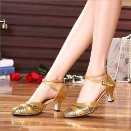 Wholesale Yellow Latin - Brand New 2018 Gold Silver Women Ballroom Tango Salsa Tap Latin Dancing Shoes   High Heels 5cm 3cm Women's Sequin Modern Dance Shoes Square