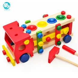 Wholesale Kid Toy Screws - Baby wooden toy tools kids tool car Disassemble Table games Learning Educational Knock on the ball Screw assembly garden game