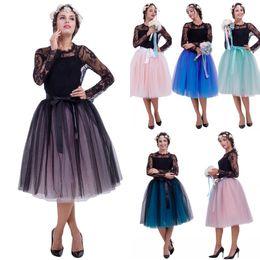 2019 vestidos de damas de honor tutu 2018 En Stock 65 cm Verano Playa Midi Falda de Tul Moda Plisada TUTU Faldas Mujeres Lolita Enagua Vestido de damas de honor CPA837 rebajas vestidos de damas de honor tutu