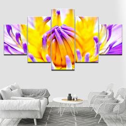 2019 arte de lona de flor amarela O amarelo e roxo Flor 5 Peça Wallpapers Art Canvas Print moderno Poster Modular pintura da arte para Sala de estar Decoração de Casa desconto arte de lona de flor amarela