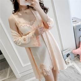 5de3839305 2018 Women Sleep Lounge Sleepwear Robe Silk Bathrobe Robe Vintage Indoor  Clothing Sexy Ladies Nightwear Set Chest Pads