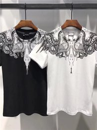 Wholesale Polyester Tshirts - MB10 Marcelo Burlon new style Tide brand Feather Wings Fashion Show men's Tshirts printing Designer Men T-shirts Stretch cotton 3D