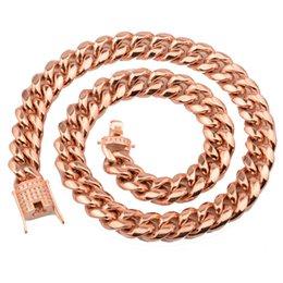 cadena de oro rosa miami cubana Rebajas Nueva joyería Acero inoxidable 316L Oro / Oro rosa Joyería Cadena de eslabones bordillo cubano de Miami Collar para mujer para hombre