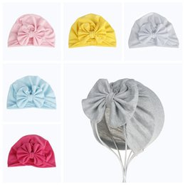 Wholesale newborn red baby cap - Cute Newborns Bowknot Cap Girls boys Baby Photography Turban Caps Accessories Kids bow Beanie Hat top quality
