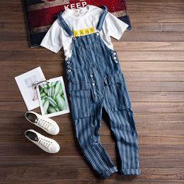 2019 японский стиль джинсов Fashion Casual Men's Jumpsuits Rompers Japan Harajuku Style Man Blue Striped Bib Overalls Pants Male Harem Jeans Trousers скидка японский стиль джинсов