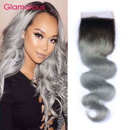 Wholesale Two Toned Lace Top Closure - #1B Grey Ombre Hair Lace Closure Two Tones Ombre Gray Brazilian Body Wave 4x4 Top Lace Closure with Baby Hair
