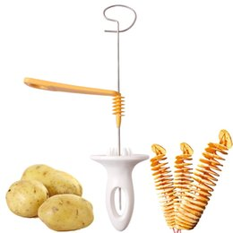 Wholesale eco twist - New Fashion 3 string Rotate Potato Slicer Stainless Steel +Plastic Twisted Potato Slice Cutter Spiral DIY Manual Creative Kitchen Tools