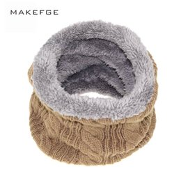 Wholesale crochet collar scarves - New Fashion Unisex Winter Knitted Scarves gaiter Plus Cotton Wool Collar scarf Warmer Woman Crochet Ring Men Loop neck Scarf