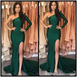 Canada Vert émeraude chaud robes de bal de sirène sexy une épaule fendue à manches longues en satin balayage train robes soirée soirée robes de soirée sur mesure Offre