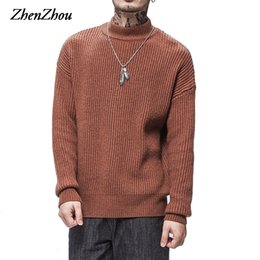 Wholesale winter turtleneck sweaters for men - 2017 Winter Solid Casual Pullover Men Sweaters Men Turtleneck Thick Loose Jumper For Man Pull Homme Plus Size S-XXL High Quality