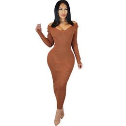 Sexy Bodycon Maxi Dress Femmes Vêtements Automne Hiver À Manches Longues Robes De Soirée Haute Stretch Élégant Pull Pull En Tricot ? partir de fabricateur