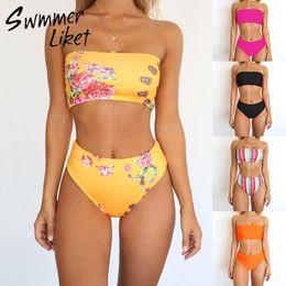 ea718993a01 High waist bikini 2019 High cut swimsuit Solid plus size swimwear women  bathers Bandeau bathing suit Brazilian two-piece suit xl