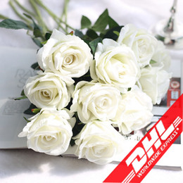 Wholesale Wedding Table Red Flower Decorations - Single Large Rose Bouquet Real Touch Silk Artificial Rose Flower For Wedding Party Table Home Decoration Accessories