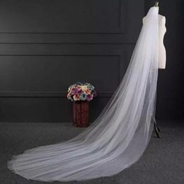 Wholesale Make Wedding Headpieces - Elegant Simple Wedding Veils Two Layers Tulle Long Formal Bridal Veil Custom Made Wedding Headpieces Accessaries Bridal Veils with Comb