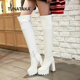 stivali alti a ginocchio Sconti Piattaforma Square High Heel Woman Zipper Over The Knee Stivali Fashion Lace Up Ladies Stivali coscia Black White