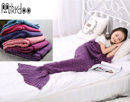 Wholesale Kids Crochet Knit Bags - Mikrdoo Size baby kids women Sleeping Bag Crochet Throw Bed Wrap Blanket Handcrafted Knitted Mermaid Tail warmer free shipping