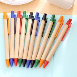 recycled pen wholesaler Promo Codes - QSHOIC 10pcs lset cute school supply kraft paper tube pen environmentally friendly hot sales recycled paper pen ECO kraft