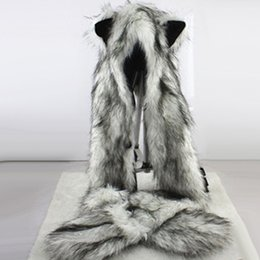 Wholesale Mitten Scarf - Women Fashion Wolf Ears Paws Faux Fur 3 in 1 women's Hat Scarf Mittens Winter Warm Cap Wolf Hat