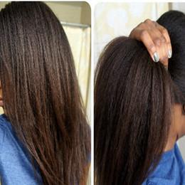 Capelli termoresistenti Yaki Kinky dritto parrucche anteriori in pizzo sintetico Parrucche diritte crespi Nero / Marrone scuro / Marrone medio 1 # 2 # 4 # 6 # Per le donne da