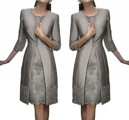 Wholesale plus size fall wedding jacket - Vintage Carla Ruiz Knee Length Mother Off The Bride Groom Plus Size Suits Long Jacket Appliques Lace Wedding Guest Dresses HY289
