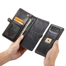 Nota billetera casos de correa online-Funda CaseMe para Samsung Galaxy Note 9 / Note 8 con correa para muñeca Carga inalámbrica Funda Wallet magnética 2 en 1 Funda extraíble para teléfono