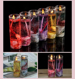 purple flameless candles Coupons - Gel Wax Romantic Candles For Valentine's Day Birthday And Wedding Banquet Candles With 6 Color,Aroma Jelly Wax Candles SN1241