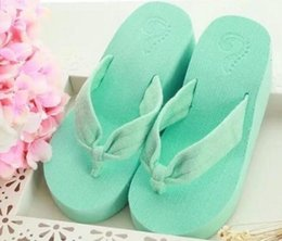 Wholesale Wholesale High Heel Slippers - designer slippers sandals new wholesale high platform wedges thick-soled high-heeled beach flip flops EMS free shipping
