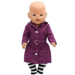 Wholesale Girls Fashion Coat Suit - Zapf Baby Born Doll Clothes Fashion Purple Blue Coat + Socks Suit Fit 43cm Zapf Baby Born Doll Accessories Girl Gift X-162